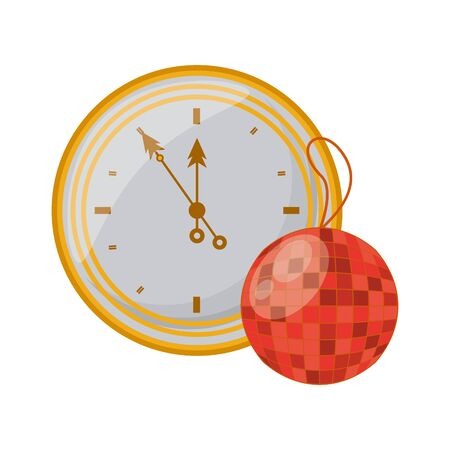 mirrors ball party hanging with time clock vector illustration design Illustration