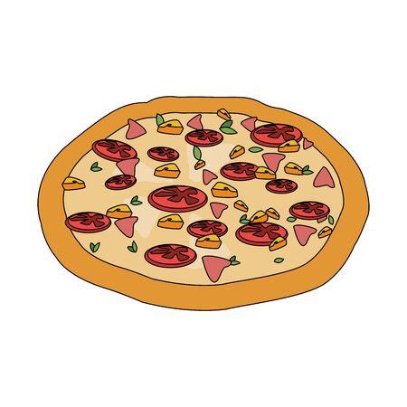 italian pizza icon over white background, vector illustration