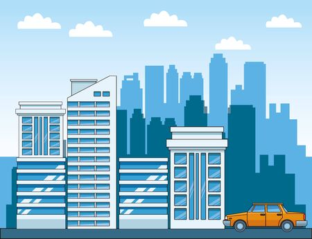 urban city scenery with modern building and classic car , colorful design, vector illustration