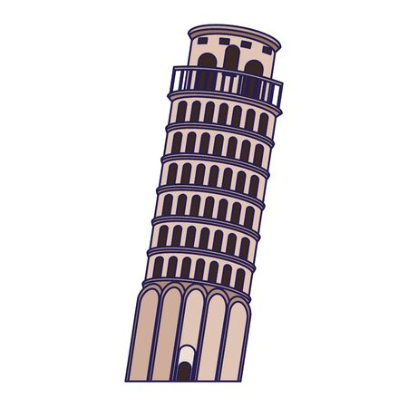 pisa tower icon over white background, vector illustration