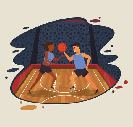 young couple athletes playing basketball with balloon vector illustration design