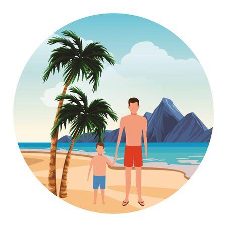 summer vacation man at beach with boy cartoon vector illustration graphic design