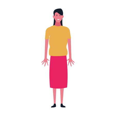 happy woman standing wearing skirt over white background, vector illustration