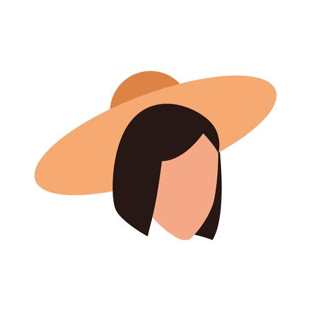 avatar woman with elegant hat icon over white background, vector illustration