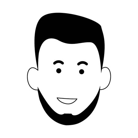 cartoon young man with beard icon over white background, vector illustration