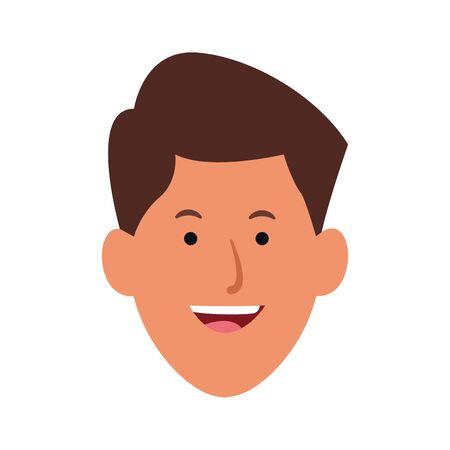 cartoon young man face icon over white background, vector illustration