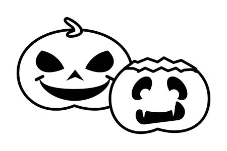 halloween pumpkins with faces icons vector illustration design