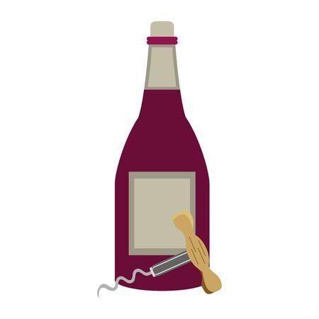wine bottle and corkscrew utensil icon over white background, vector illustration Ilustração