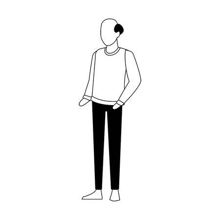 avatar old man icon over white background, flat design. vector illustration