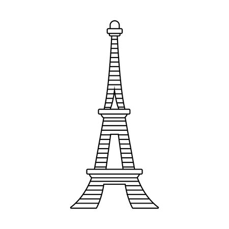 eiffel tower icon over white background, vector illustration