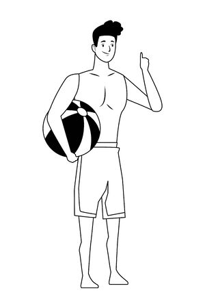 Young man with beach ball in summer time vector illustration graphic design