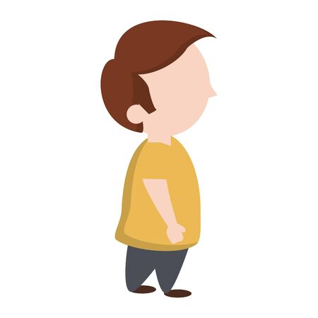 Cute boy sideview cartoon isolated vector illustration graphic design Çizim