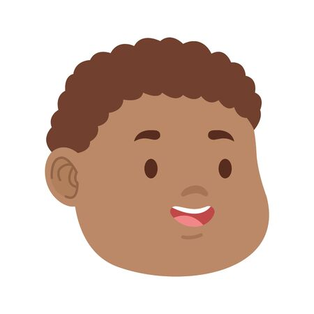 cartoon boy with curly hair icon over white background, colorful design. vector illustration
