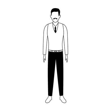 avatar old man icon over white background, vector illustration Çizim