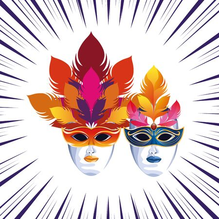 masks with feathers icon cartoon pop art background vector illustration graphic design