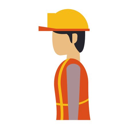 construction architectural engineering, worker making heavy work with protection safety equipment in under construction site isolated cartoon vector illustration graphic design Ilustração