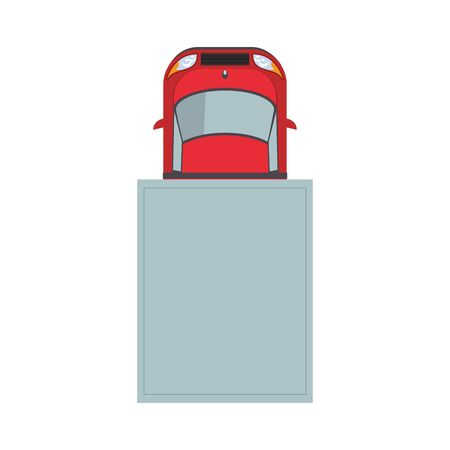 top view of car in garage over white background, vector illustration