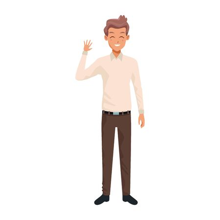 man wearing casual clothes over white background, vector illustration