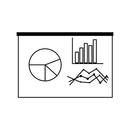 graph charts icon over white background, vector illustration