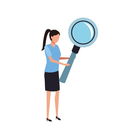 avatar woman with big magnifying glass over white background, vector illustration