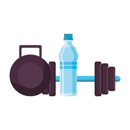 fitness equipment workout health and scale water flask isolated symbols vector illustration graphic design