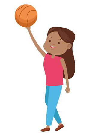 young afro woman with balloon basketball vector illustration design