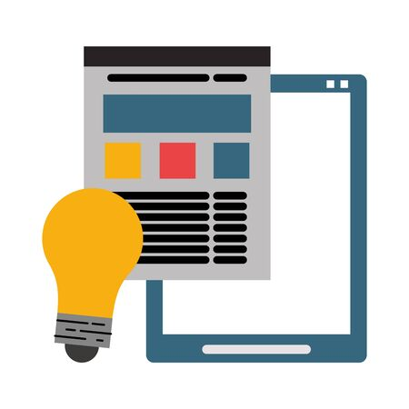 Tablet and website with bulb light symbols vector illustration graphic design