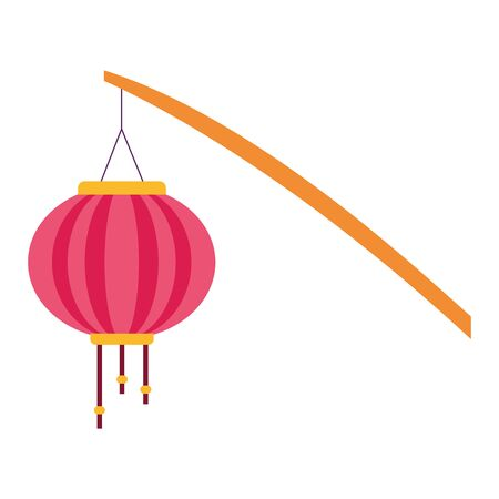 stick with chinese lantern icon over white background, colorful design. vector illustration