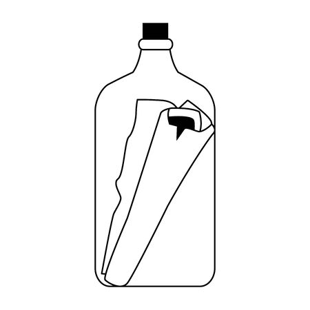 bottle with message nautical icon vector illustration design