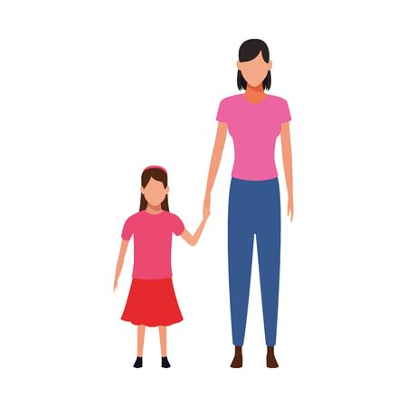 avatar mother with her little daughter over white background, flat design. vector illustration