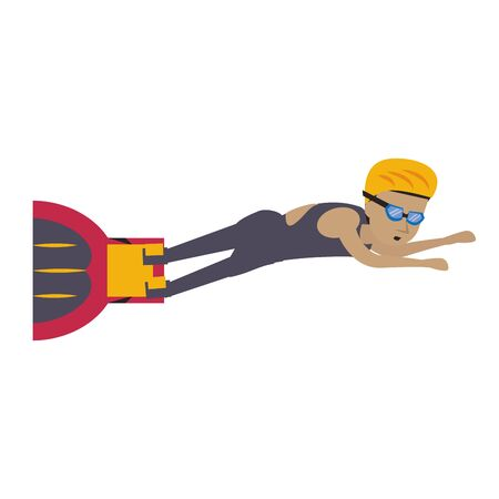 Water sport man with fins swimming cartoon isolated vector illustration graphic design