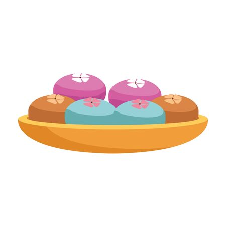 bowl with mooncakes over white background, colorful design. vector illustration