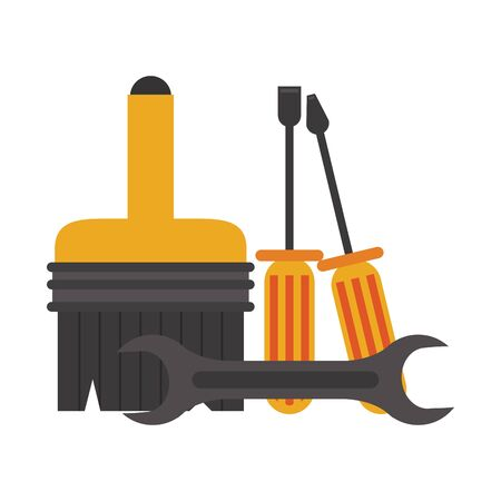 Construction tools wrench and screwdrivers with paint brush vector illustration graphic design
