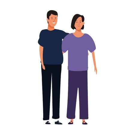 cartoon young couple wearing casual clothes over white background, colorful design. vector illustration