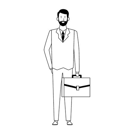cartoon businessman standing and holding a briefcase icon over white background, vector illustration