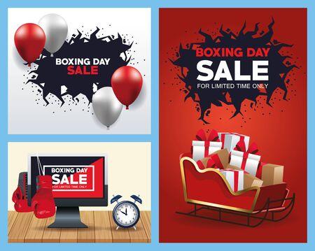 boxing day sale bundle of posters vector illustration design