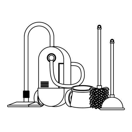 Cleaning equipment and products vacuum cleaner with toilet brush and pump vector illustration graphic design.