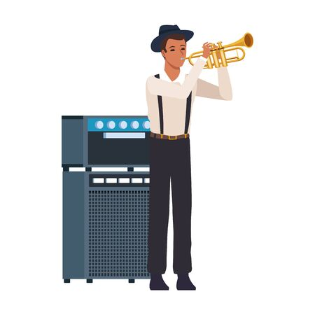 cartoon man playing trumpet and sound amplifier over white background, vector illustration
