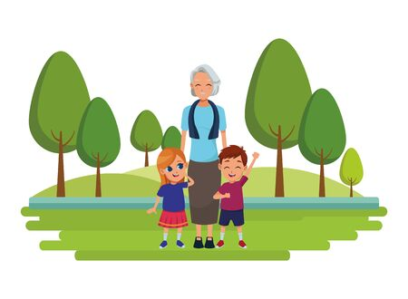 Family grandmother with grandchildrens cartoons in nature park outdoors scenery background ,vector illustration graphic design.