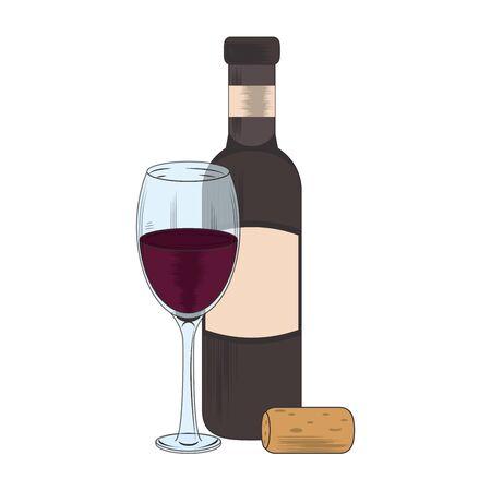 corkscrew with glass and bottle of wine utensil icon over white background, vector illustration Ilustração