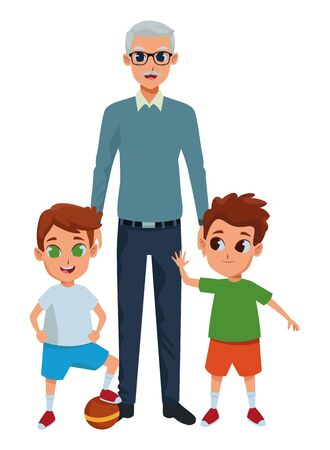 Family grandchildren and grandfather of hand vector illustration graphic design vector illustration graphic design