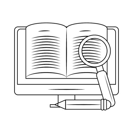 computer with magnifying glass and pencil over white background, vector illustration Illustration