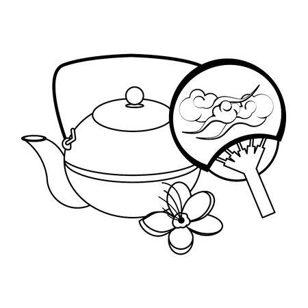 Japanese Uchiwa Fan and cast iron teapot icon over white background, vector illustration