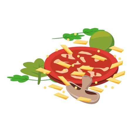 tomato slice with mushrooms and grated cheese over white background, vector illustration