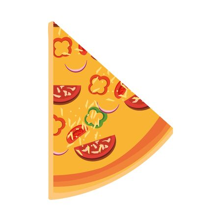 italian pizza slice icon over white background, vector illustration