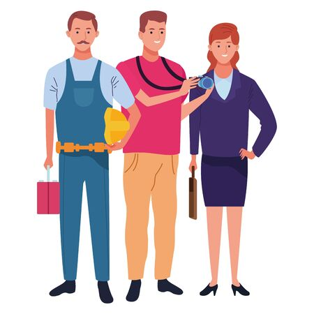 Professionals workers smiling with work tools cartoons ,vector illustration.