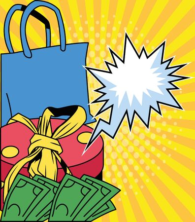 shopping bag and gift design, Commerce market store retail paying and buying theme Vector illustration