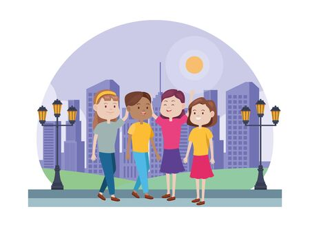young women characters in the city vector illustration design
