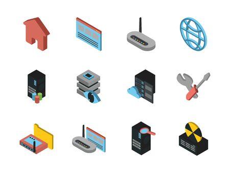 bundle of data server set icons vector illustration design Vektoros illusztráció