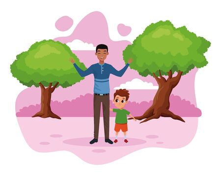 Family single father with little son cartoon in the nature park scenery vector illustration graphic design